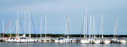 Blick auf den Hafen von Breege